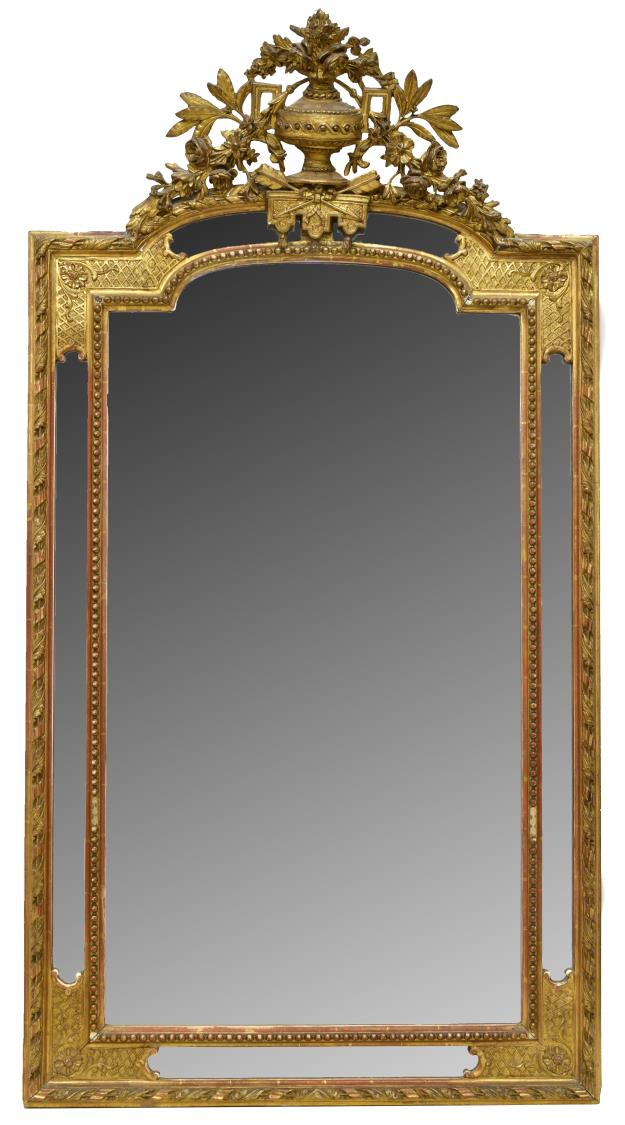 FRENCH LOUIS XV STYLE CARVED GILT WALL MIRROR