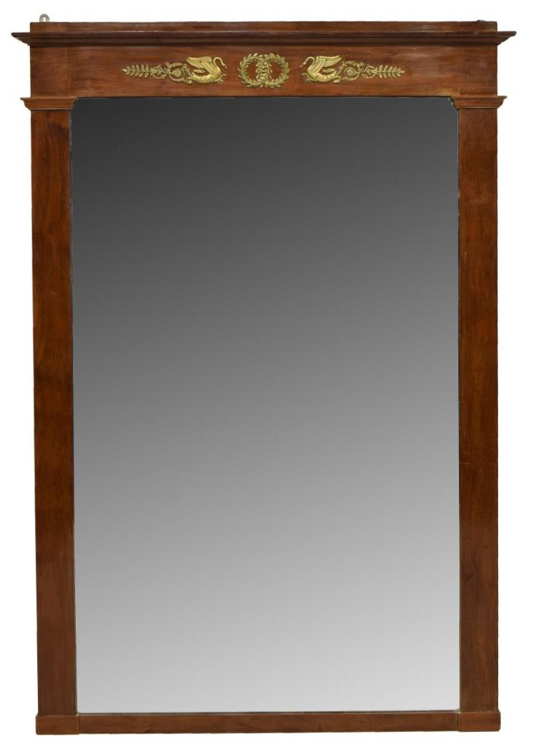 FRENCH EMPIRE STYLE MAHOGANY FRAME MIRROR
