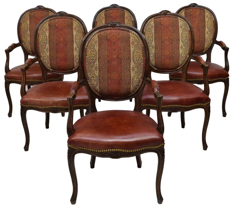 LOUIS XV STYLE MAHOGANY LEATHER ARMCHAIRS