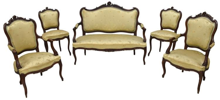 (5) LOUIS XV STYLE CARVED WALNUT UPHOLSTERED SUITE