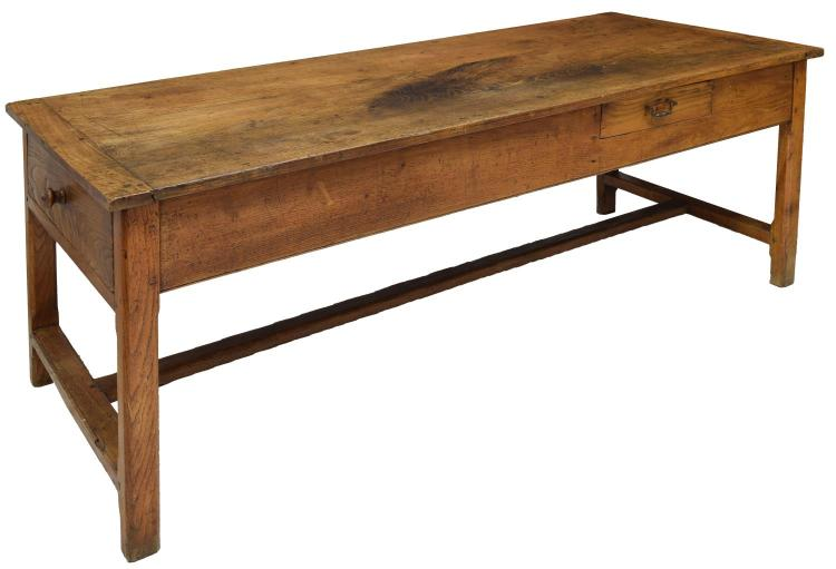 FRENCH PROVINCIAL OAK PLANK TOP DINING TABLE