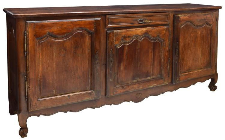 FRENCH LOUIS XV STYLE CARVED OAK ENFILADE, 19TH C.