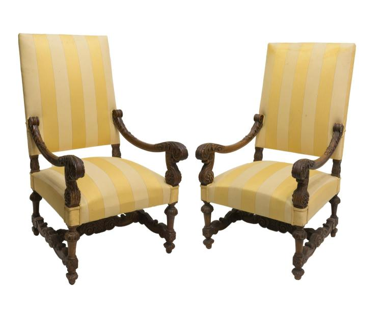 (2) FRENCH LOUIS XIV CARVED WOOD FAUTEUIL CHAIRS