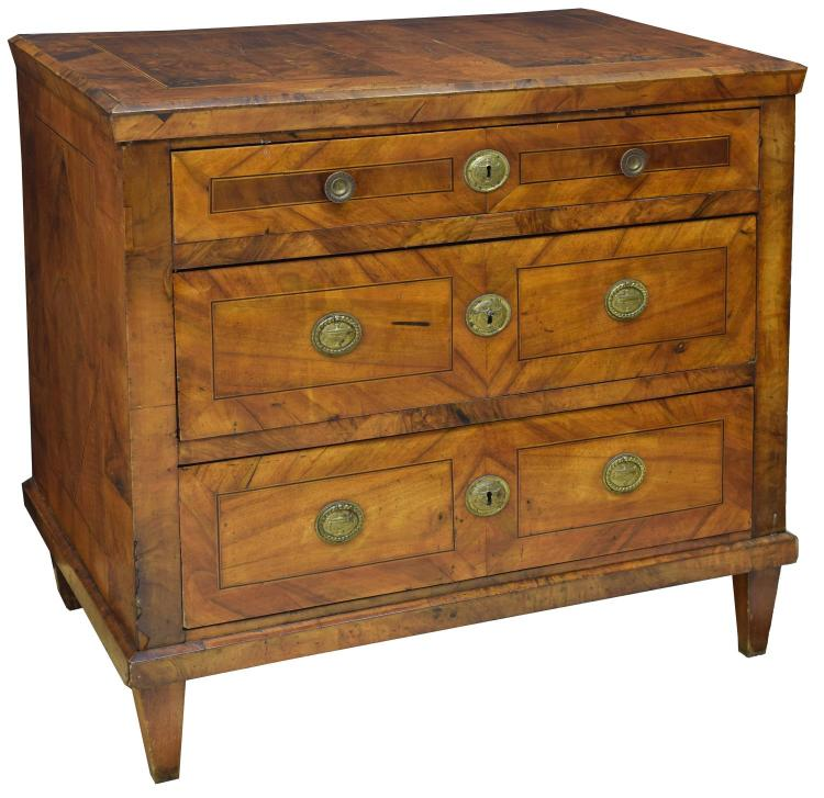 FRENCH LOUIS XVI STYLE WALNUT COMMODE