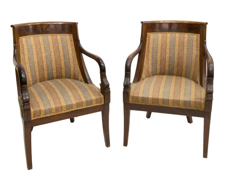 FRENCH EMPIRE CARVED HARDWOOD FAUTEUILS, 19TH C.
