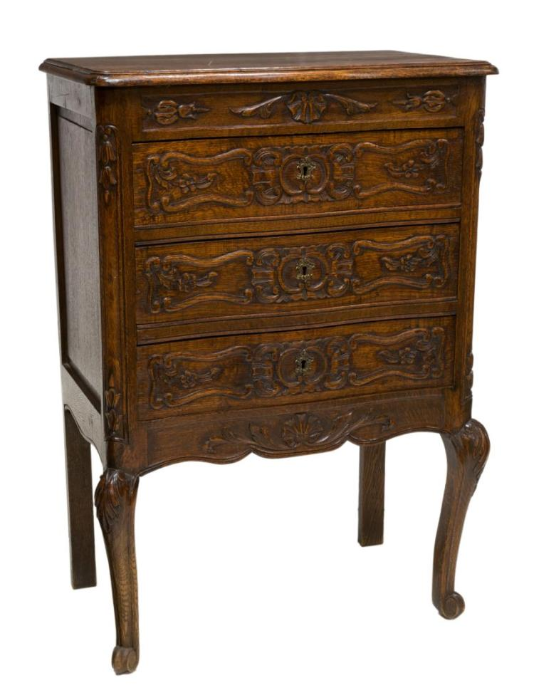 FRENCH LOUIS XV STYLE OAK DIMINUTIVE COMMODE