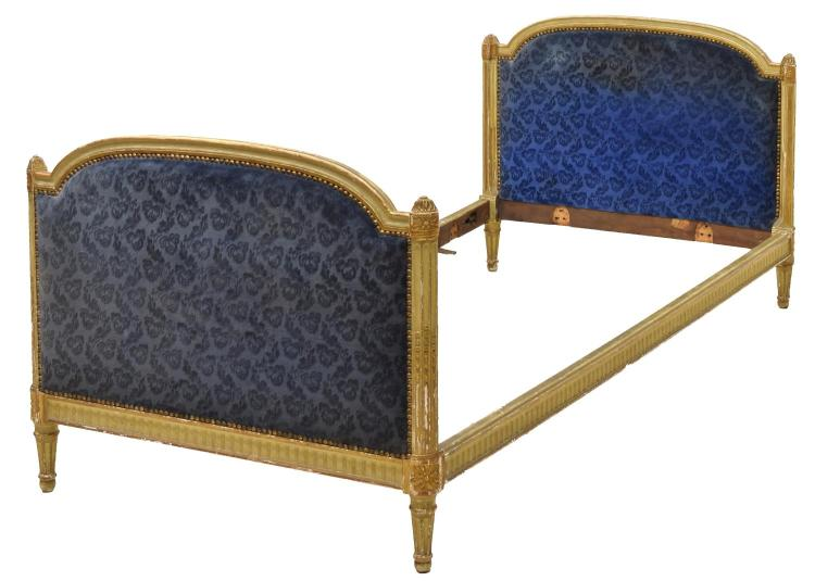 LOUIS XVI STYLE UPHOLSTERED GILT BED