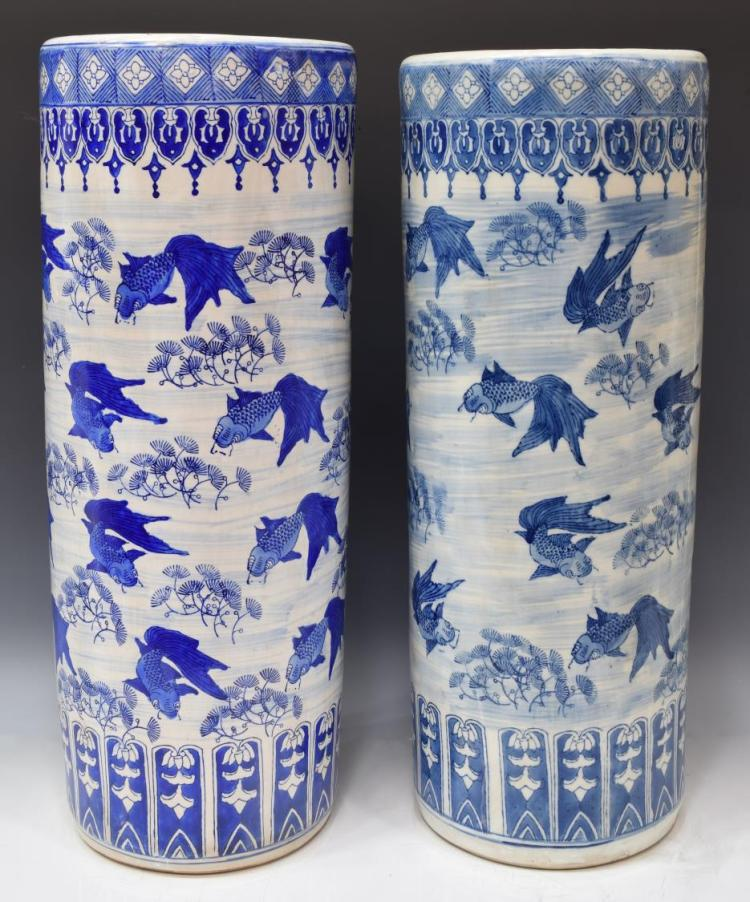 (2) CHINESE BLUE & WHITE PORCELAIN UMBRELLA STANDS