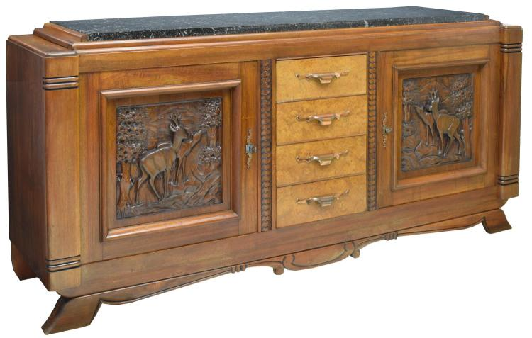 FRENCH ART DECO MARBLE-TOP WALNUT SIDEBOARD