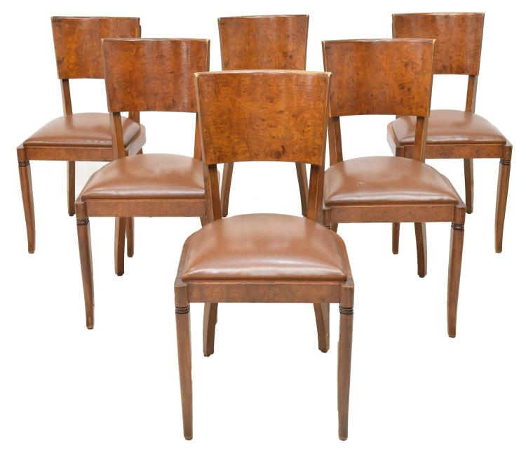 (6) FRENCH ART DECO BURLWOOD DINING CHAIRS