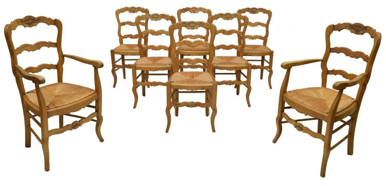(8) FRENCH PROVINCIAL CARVED PINE CHAIRS