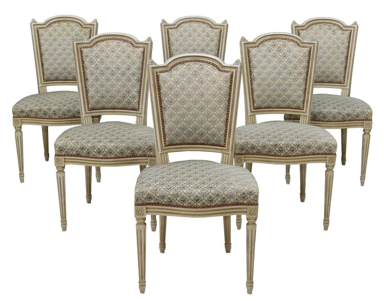 (6) LOUIS XVI STYLE PAINTED AND CARVED WOOD CHAIRS