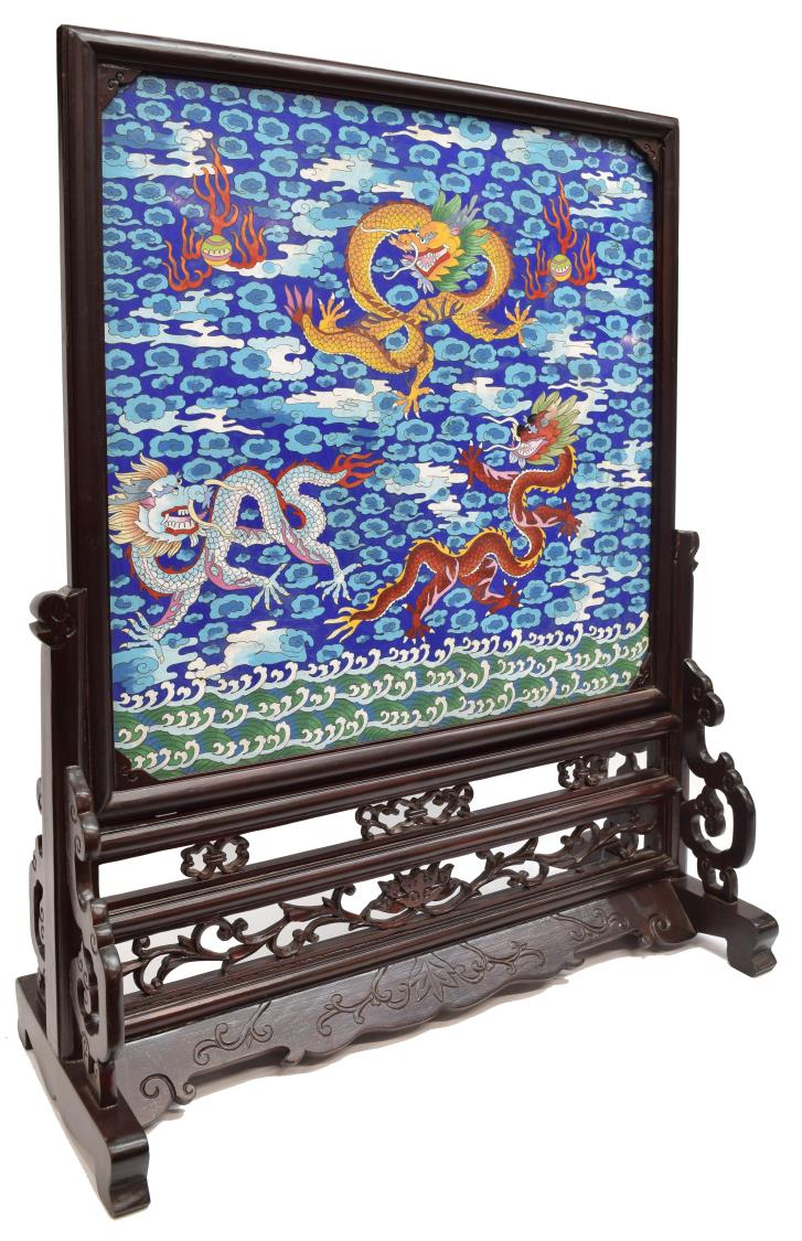 CHINESE CLOISONNE CARVED HARDWOOD DRAGON SCREEN