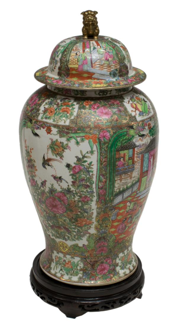 LARGE CHINESE ROSE-MEDALLION TEMPLE JAR W/STAND