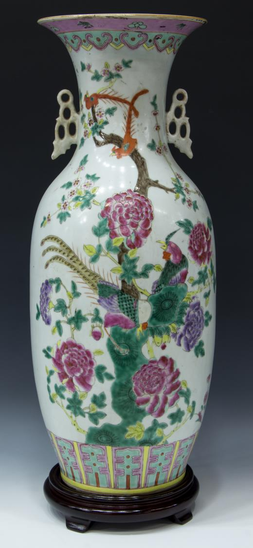 CHINESE FAMILLE-ROSE FLORAL AND BIRD DESIGN VASE
