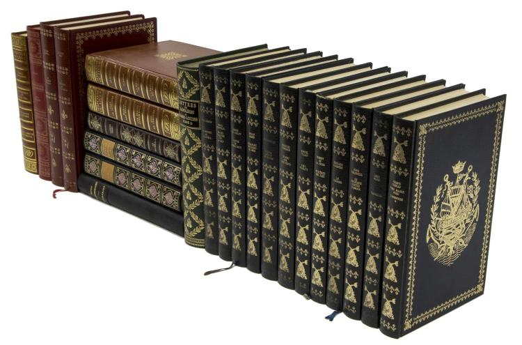 (23) FRENCH GILT EMBOSSED HARDCOVER LIBRARY BOOKS