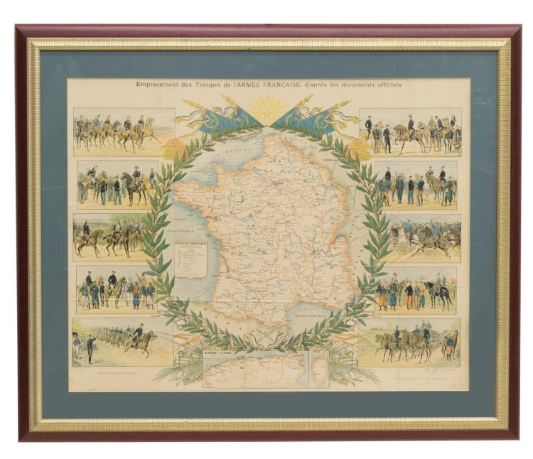 FRAMED FRENCH MILITARY ARMED FORCES MAP