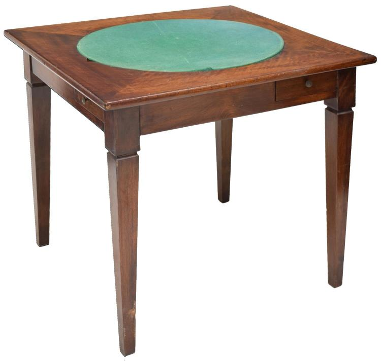 FRENCH MAHOGANY GAME TABLE, 19TH C.