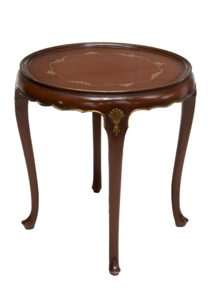 LOUIS XV STYLE PAINTED PARCEL GILT SIDE TABLE