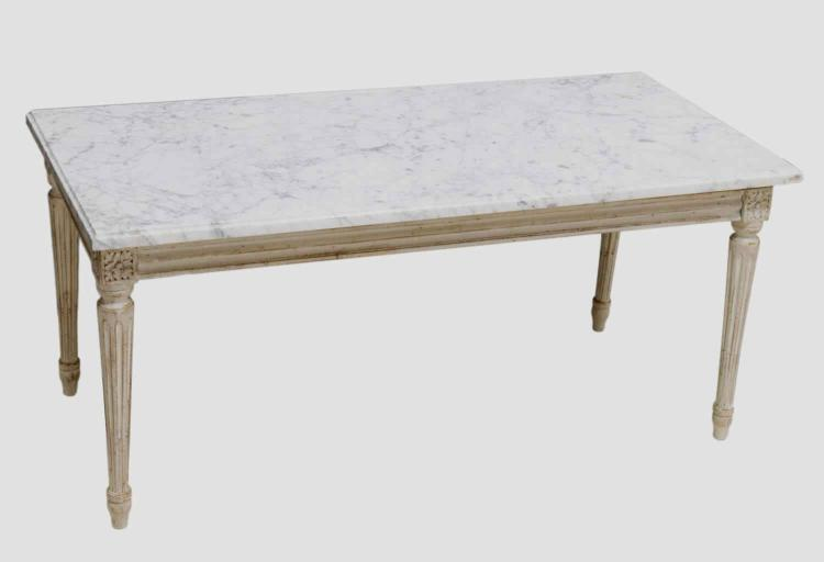 LOUIS XVI STYLE WOOD & MARBLE COFFEE TABLE