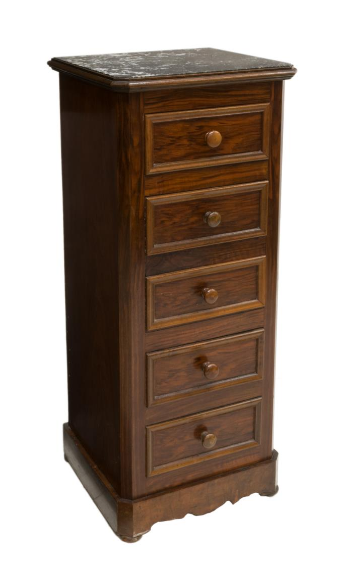 FRENCH LOUIS PHILIPPE MARBLE ROSEWOOD NIGHTSTAND