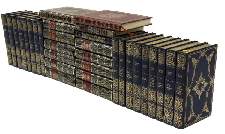 (32) FRENCH GILT EMBOSSED HARDCOVER LIBRARY BOOKS