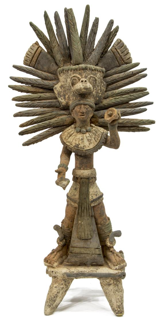 PRECOLUMBIAN STYLE INCAN CLAY PRIEST SCULPTURE