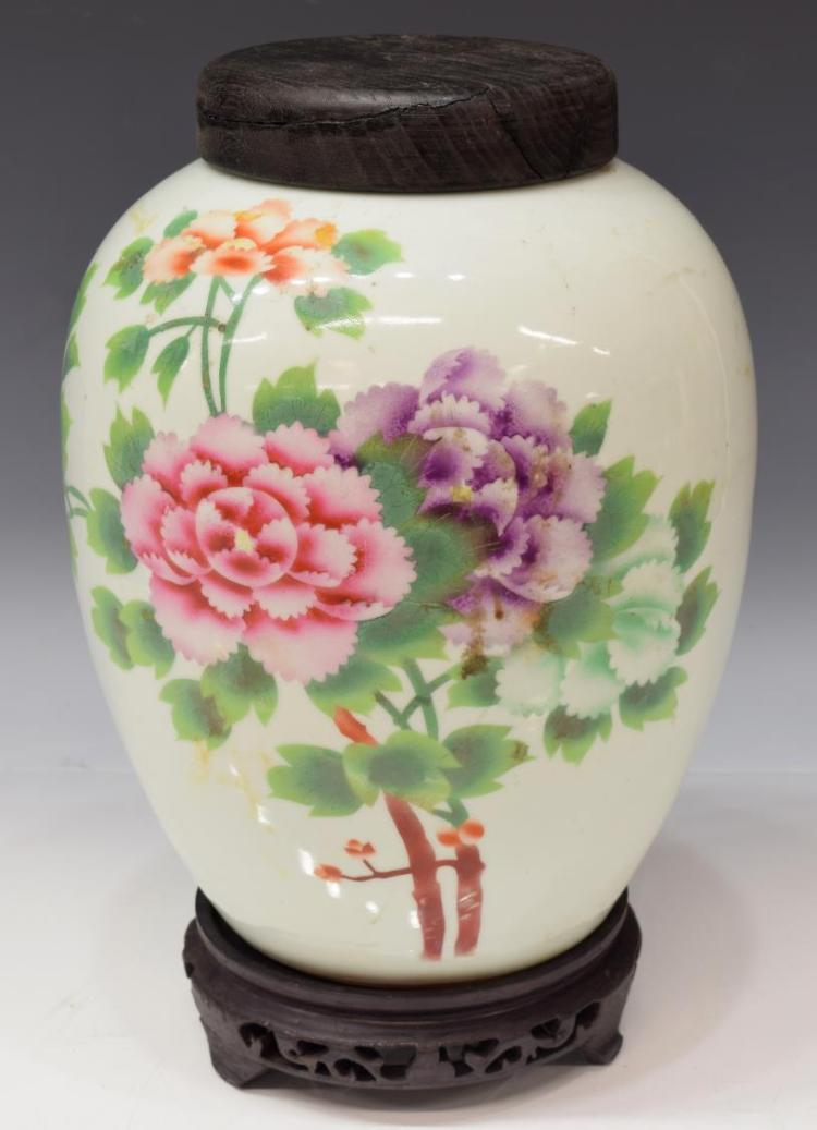 CHINESE FAMILLE-ROSE PORCELAIN TALL MELON JAR