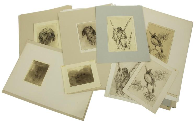 (24) D. HOWLAND (NY, 1920-1999) DRYPOINT ETCHINGS