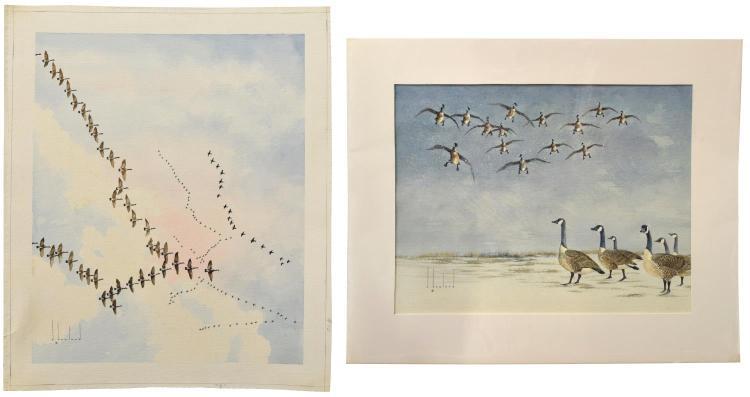 (2)D. HOWLAND (NY, 1920-1999) UNFRAMED WATERCOLORS