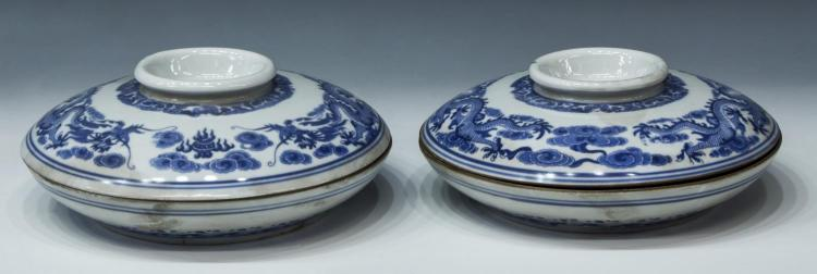 (2) CHINESE BLUE AND WHITE DRAGON DESIGN DISHES