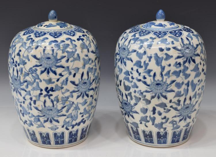 (PR) CHINESE BLUE AND WHITE MELON JARS
