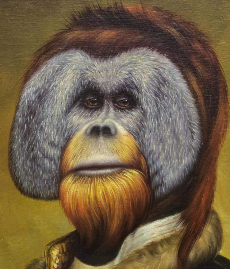 Framed Maitland Smith Oil Painting Orangutan