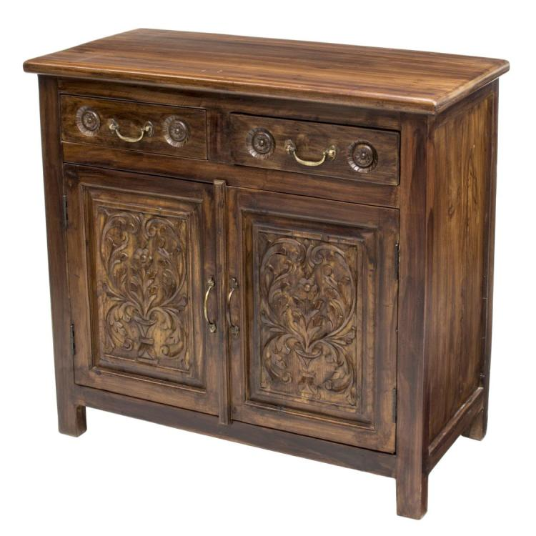 british colonial style teakwood cabinet 20th c. Black Bedroom Furniture Sets. Home Design Ideas