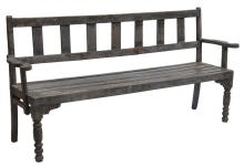 DUTCH COLONIAL STYLE PAINTED TEAKWOOD BENCH