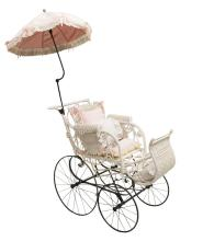 VICTORIAN WHITE WICKER DOLL CARRIAGE PARASOL