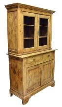 FRENCH COUNTRY GLAZED PINE CABINET, 19TH C