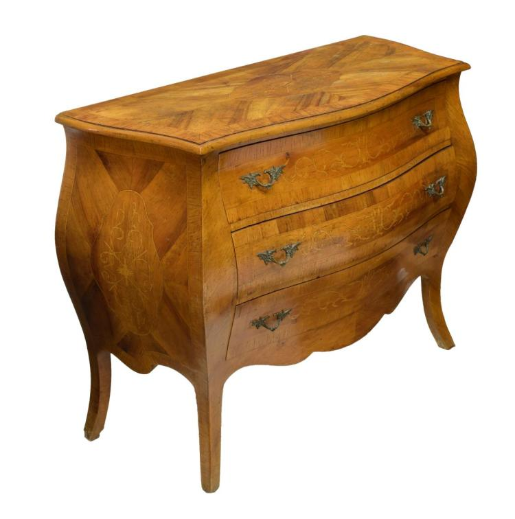 French marquetry bombe commode for Furniture auctions uk