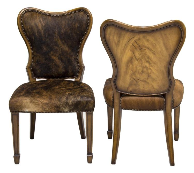 lot 785 2 theodore alexander cow hide accent chairs