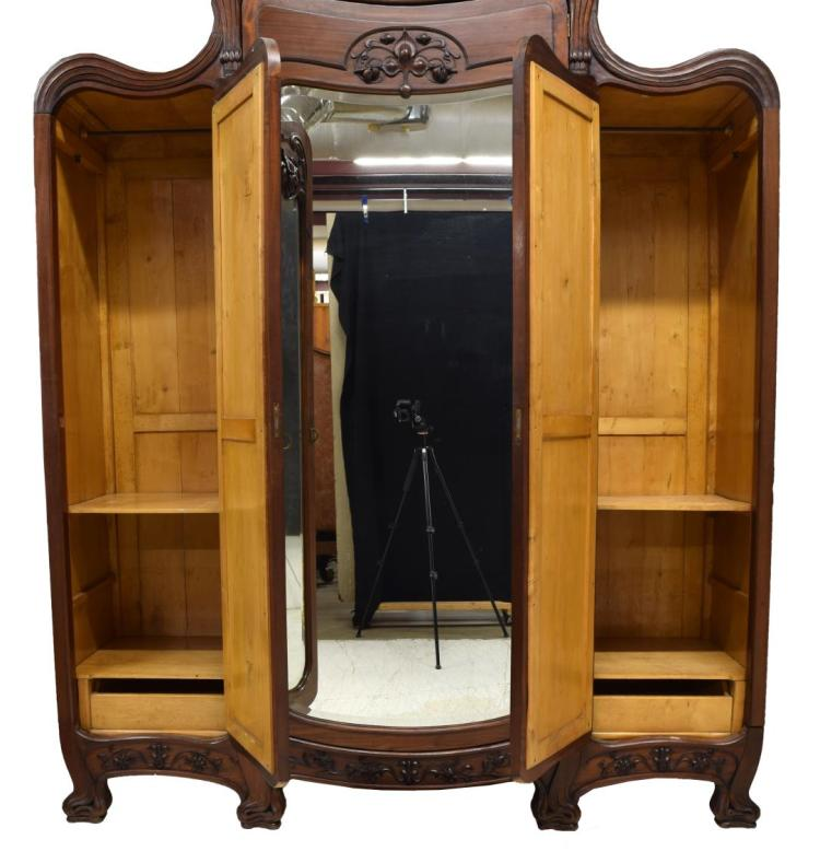 french art nouveau mahogany triple armoire. Black Bedroom Furniture Sets. Home Design Ideas