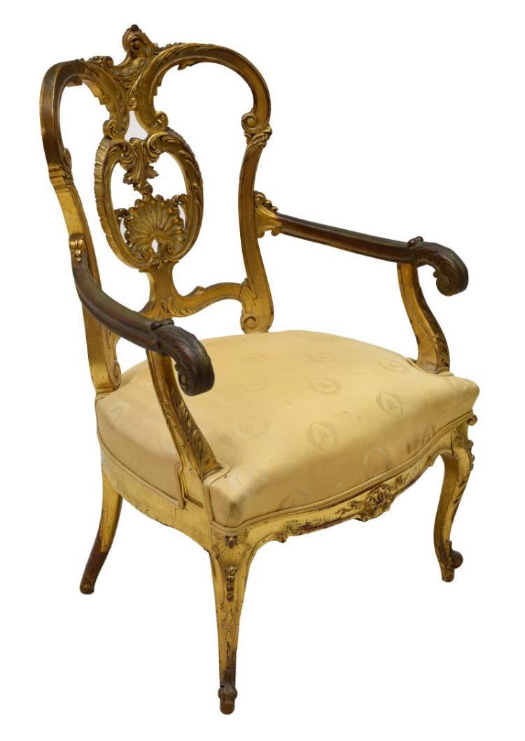Louis xv style parcel gilt fauteuil - Fauteuil style louis xv ...