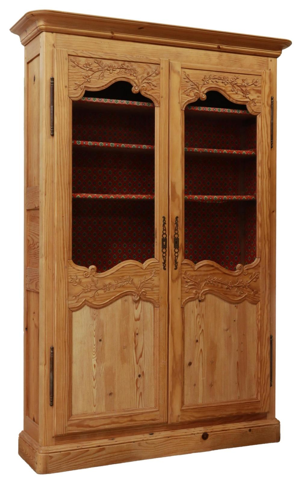 FRENCH PROVINCIAL CARVED PINE VITRINE BOOKCASE