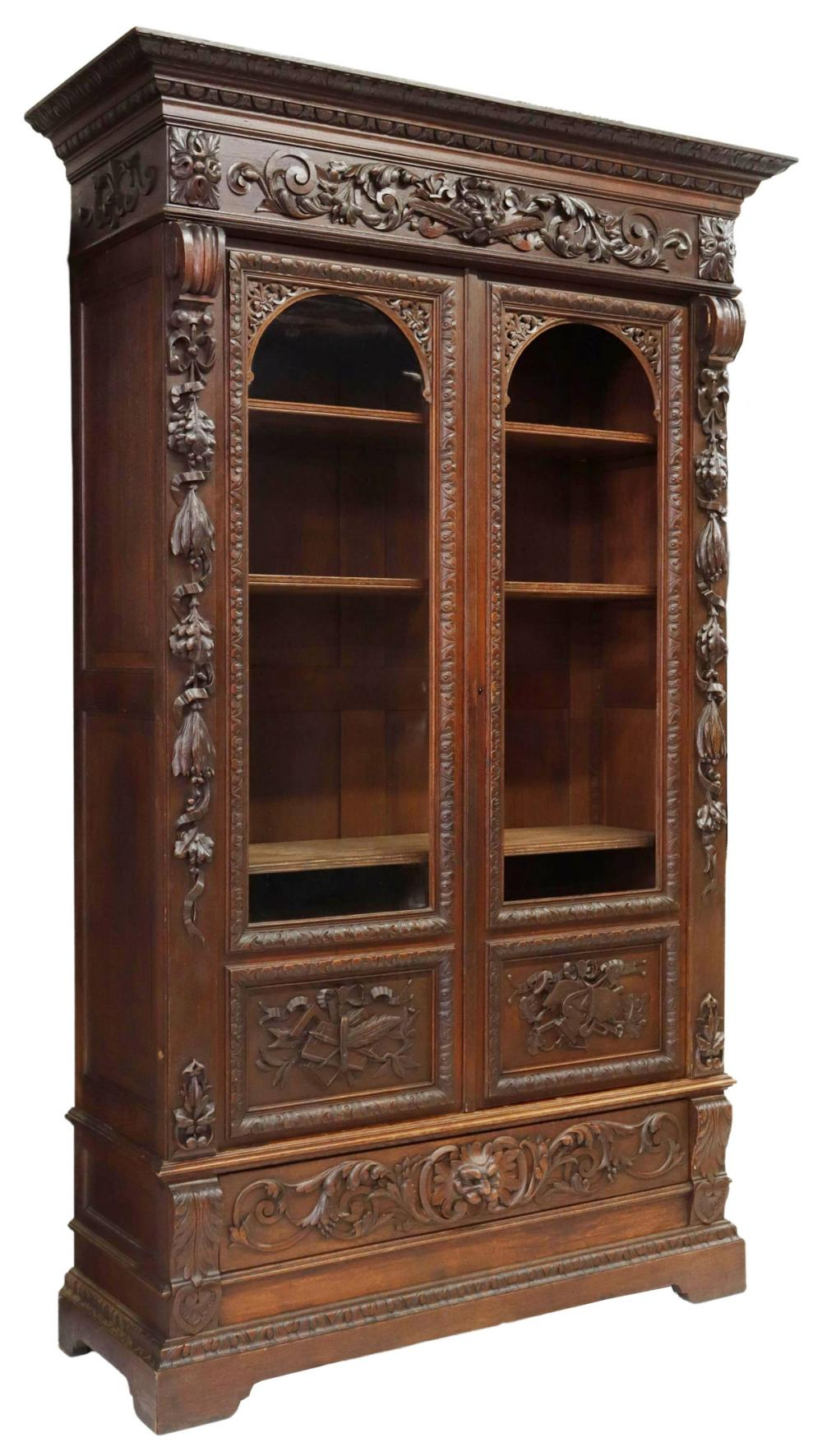FRENCH CARVED OAK GLAZED BOOKCASE, 19TH C.