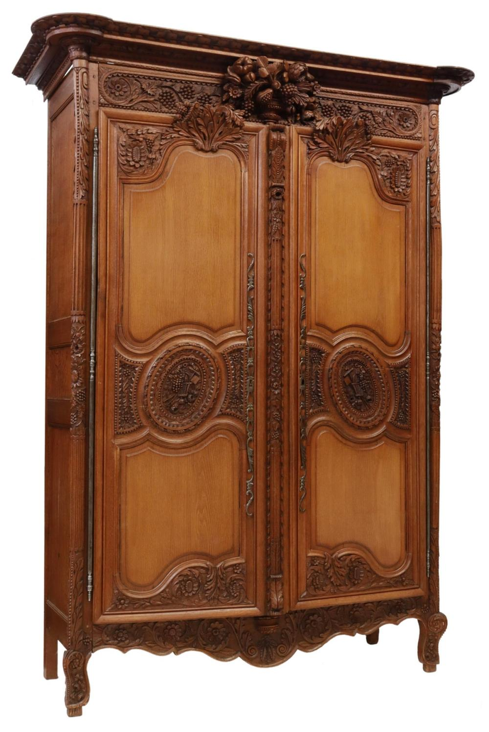 FRENCH PROVINCIAL CARVED OAK WEDDING ARMOIRE