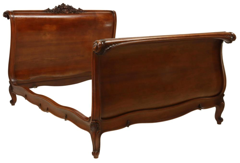 FRENCH LOUIS XV STYLE WALNUT BED