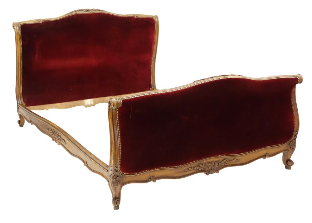 FRENCH LOUIS XV STYLE UPHOLSTERED WALNUT BED