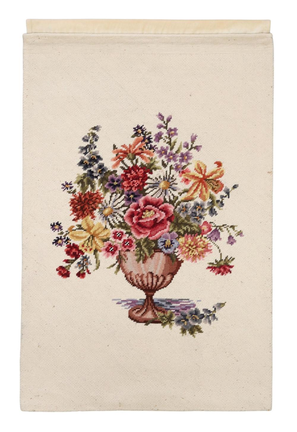 """FLORAL NEEDLEPOINT WALL HANGING, 54"""" X 35"""""""