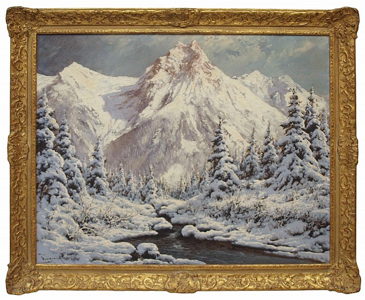 PAINTING: MOUNTAIN SNOW, LASZLO NEOGRADY 1896-1962