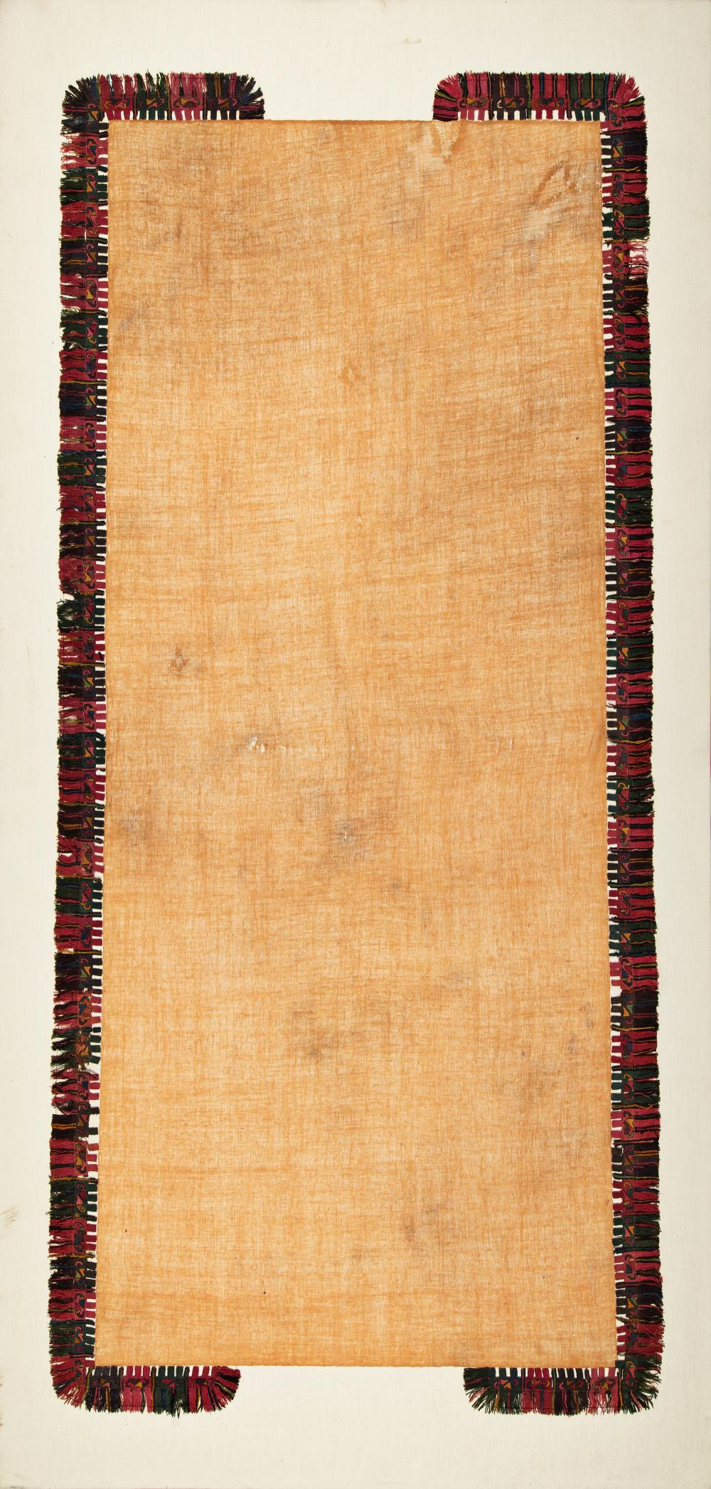 Ceremonial scarf with decorative border (chili peppers)