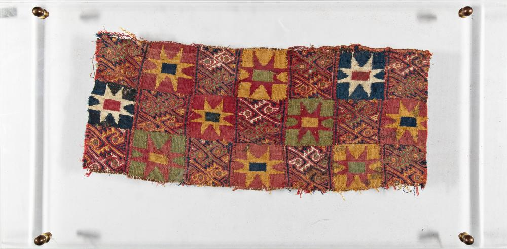 Textile fragment with star motif and birds